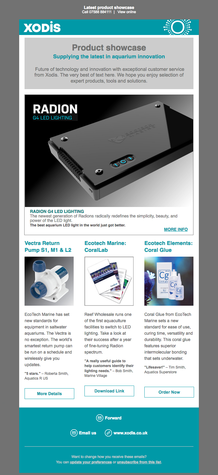 Xodis product showcase email